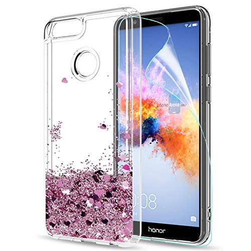 LeYi Hülle Huawei Honor 7X Glitzer Handyhülle mit HD Folie Schutzfolie,Cover TPU Bumper Silikon Flüssigkeit Treibsand Clear Schutzhülle für Case Huawei Honor 7X Handy Hüllen ZX Rot Rosegold
