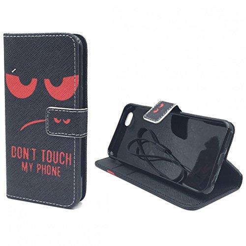 König-Shop - Handyhülle Schutz Tasche Case Cover Wallet Kunstleder 360 Grad Standfunktion, Farbe:Smile, Größe:Apple iPhone 6 / 6s Don't touch my Phone Rot