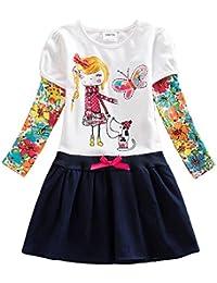 VIKITA Mädchen Baumwolle Cartoon Blumen Langarm Kleid 2-8 Jahre