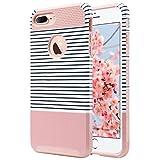 ULAK Caso del iPhone 7 Plus, Caso Funda Carcasa híbrido con PC Dura y Cubierta de Goma Interior para iPhone 7 Plus 5.5 Pulgadas (Rayas Minimal + Oro Rosa)