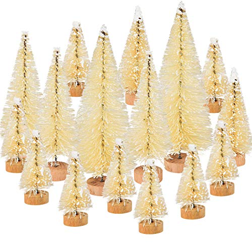 46 Pezzi Bianco Albero di Natale Artificiale da Tavolo Mini Alberi di Natale Sisal con Base in Legno Fai da Te Mestiere Tavolo Superiore Casa Decorazione, 4 Formati