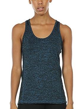 Top deportivo para mujer Icyzone para yoga, tirantes en la espalda, correr, deporte, camiseta elástica