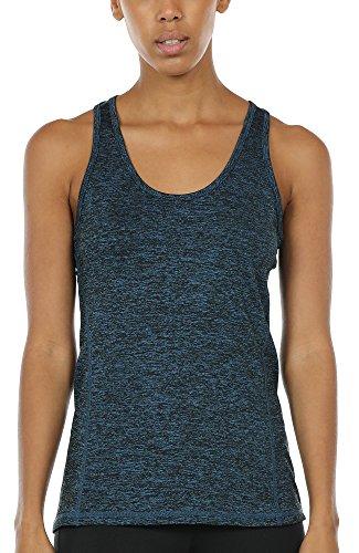 icyzone Damen Sporttop Yoga Tank Top Ringerrücken Oberteil Laufen Fitness Funktions Shirt (Royal Blue, XS)