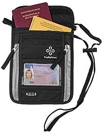 Cartera de Colgar al Cuello de Calidad con Bloqueo RFID para Hombre y Mujer | Monedero de Colgar Plano Espacioso | Bolsa de Colgar Ligera para máxima Seguridad para móvil y Documentos Viaje