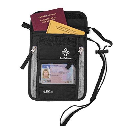 Borsello Porta Documenti Passaporto Italiano Patente Cellulare - Proteggi RFID - Portadocumenti Uomo Donna da Viaggio – Borsa Tracolla o Collo - Custodia da Esterno Impermeabile x Moto – Design Nero