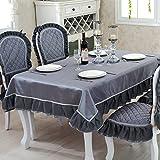 DSAAA Sencillez moderna mantel de encaje de color sólido y cubierta de mesa,tela gris 130*180cm