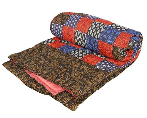 Stole & Yarn Black Patch Print Gold Single Bed Soft Indian Quilt Jaipuri Razai Blanket Cotton Rajai Light Weight Blanket Printed Dohar Comforter