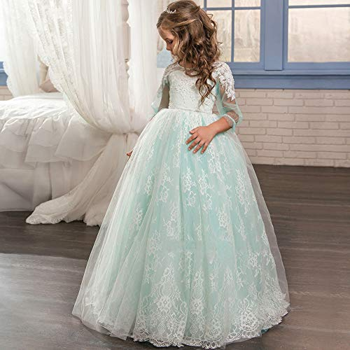 Yhjklm Bühne Hochzeit Full Lace Langarm Rundhals Temperament Fluffy Blumenmädchen Rock Girl Wedding Dress Luxus (Größe : 8-9T)
