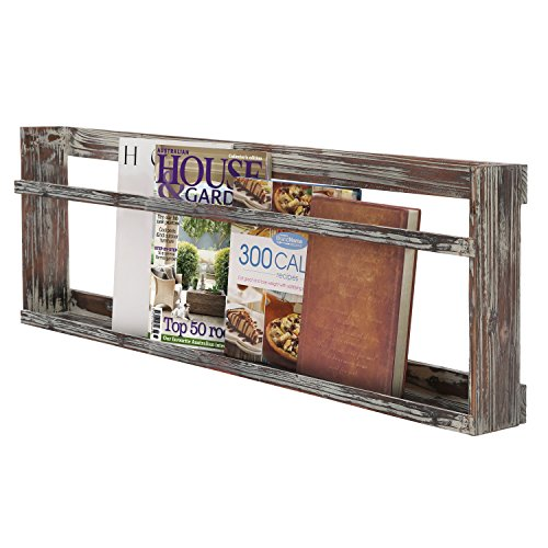 Rustikal Wand montiert Torched Holz Magazin Buch Display Rack Regal mit Reling (Bad-magazin-wand Rack)