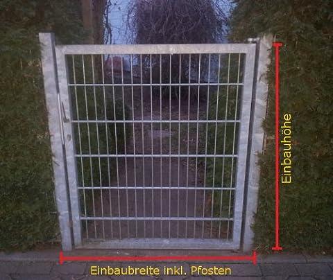 Gartentor Hoftor / Verzinkt / Tor-Einbau-Breite: 100 cm - Tor-Einbau-Höhe: 123 cm - Inklusive 2 Pfosten (60mm x 60mm) / Mattentor