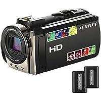 Videocamera, ACTITOP Camcorder HD 1080P 24MP 16X Zoom digitale Camcorder con 3,0 pollici TFT-LCD e 270 gradi di rotazione dello schermo