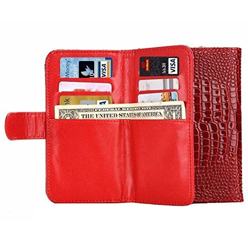 Pour IPhone 6 / 6S / 5 / 5S / 5C, Sony Xperia E4 & M4 Aqua 5.0 pouces Universal Crazy Crocodile Texture Carry Cases avec portefeuille et cartes Slots & Lanyard JING ( Color : Blue ) Red