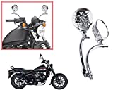 #8: Autopearl Auto Pearl Premium Quality Full Chrome Skull Face Motorcycle & Scooty Rearview Mirrors Set of 2 pcs. For - Bajaj Avenger Street 220