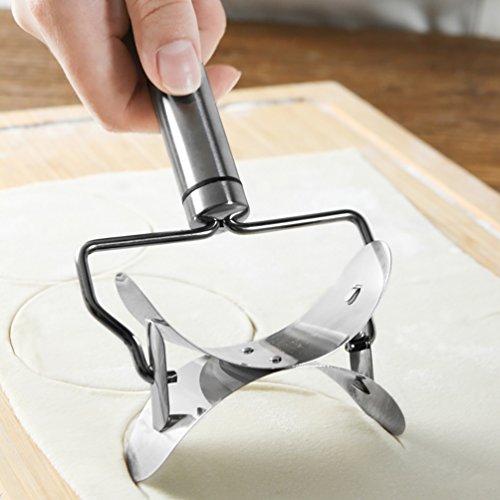 Anqeeso Edelstahl Teig Rolling Cutter, Cookie Dumpling Ravioli piroggen Maker Fondant Sahnehäubchen Spatel Kuchen dekorieren KUCHEN Schneiden - Rolling Cookie-cutter