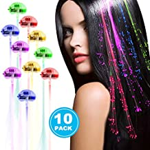Linxii 10 Pack fibre optic led light up flashing hair clip extensions, barrettes for unicorn party, bar dancing hairpin, light up hair accessories (5 colors)