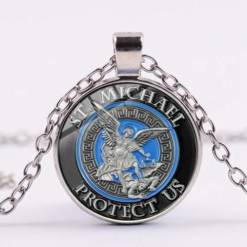 Kostüm Erzengel - DADATU Halsketten für Herren Erzengel St.Michael Halskette Schützen Mich Saint Shield Schutz Gerechtigkeit Halsketten Anhänger Talisman Christian Heilige Geschenke