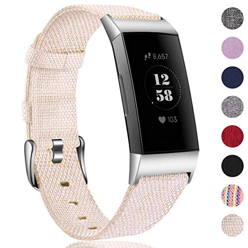 HUMENN Armband für Fitbit Charge 3 Woven Armbänd, Ersatzband Gewebte Stoff Armbands Zubehör Sport Armbänder für Fitbit Charge 3, Klein Beige