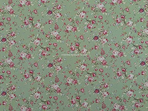 PRESTIGE P0321 Cute Pink/Peach Roses Printed Floral Flowers Cotton Poplin Fabric Rose And Hubble Dressmaking Patchwork Fabrics - Per Metre