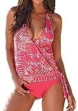 Tengweng costume da bagno, da donna, bikini sexy, alla moda, top imbottito, push-up, con triangolo all'uncinetto, intimo femminile da spiaggia Black Small