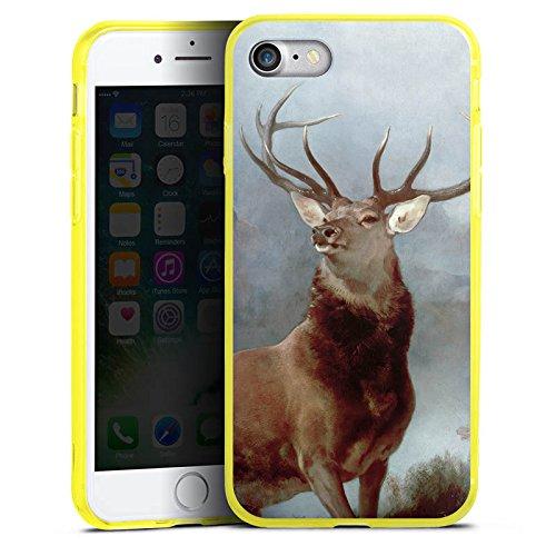 Apple iPhone 7 Silikon Hülle Case Schutzhülle Hirsch Wald Natur Silikon Colour Case gelb