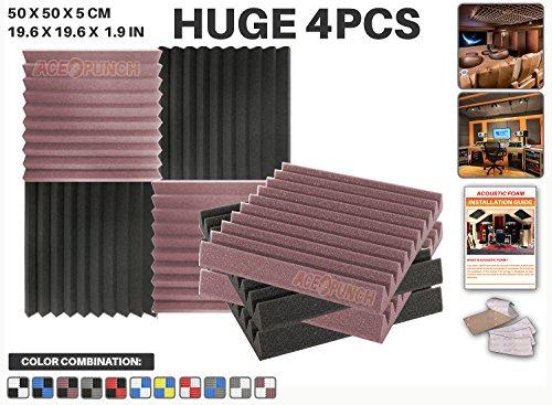 ace-punch-4-pieces-bourgogne-et-noir-combinaison-de-couleurs-wedge-studio-foam-panel-isolation-sonor