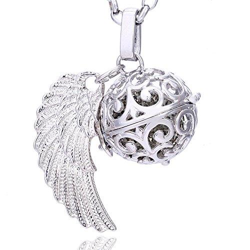 Morella® Damen Halskette Edelstahl 70 cm mit Anhänger Engelsflügel und Klangkugel grau Ø 16 mm in Schmuckbeutel