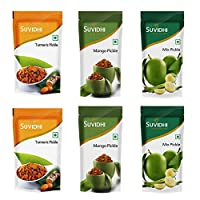 Suvidhi 2 Turmeric Pickle, 2 Mango Pickle & 2 Mix Pickle (Combo of 6)