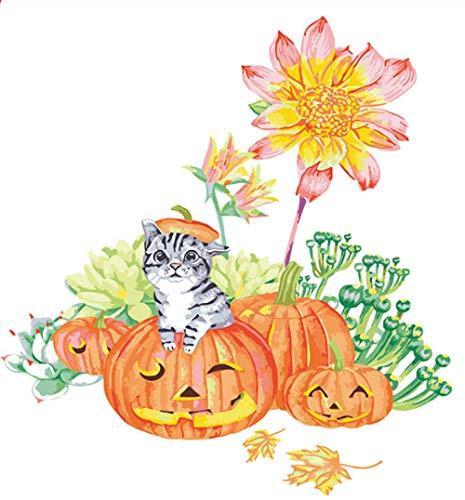 GVNEO Malen Nach Zahlen Kunst Halloween Kürbis Katze Dekorative Gemälde Zeichnen Auf Leinwand Digitale Malerei Berühmte Farbe(40X50Cm Rahmenlos)