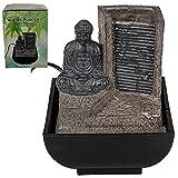 Out of the Blue Tischbrunnen, Buddha mit Wasserfall, Polyresin, Braun, 17 x 14 cm