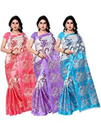 Generic Women's Art Silk Printed Saree With Blouse Piece - Ofs_124_Multicolour_Free Size - Pack Of 2