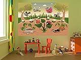 selbstklebende Fototapete - Kinderbild - Waldlichtung Cartoon - Vintage - 300x200 cm - Tapete mit Kleber – Wandtapete – Poster – Dekoration – Wandbild – Wandposter – Wand – Fotofolie – Bild – Wandbilder - Wanddeko