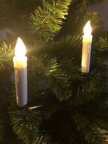 Juego de 20LED Velas de Navidad Jucon, inalámbrica para interiores y exteriores, velas LED para árbol