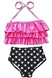 Happy Cherry Maillot de bain Deux Pièce Bikini Taille Haut Bandage Bébé Enfant Fille Tankini Volant Swimsuit Imprimé étoile Culotte Mignon 1-8ans Plage Piscine
