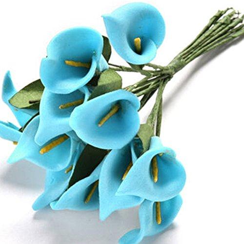 Woopower Lot de 12 Fleurs d'Arum artificielles colorées En latex Pour bouquet de mariée Sensation réelle, bleu, Taille unique
