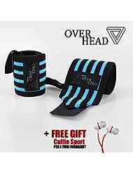 Polsini Palestra Pesi Uomo OverHead - Professionali per Sollevamento Grossi Pesi - Perfette per Bodybuilding, CrossFit, MMA, Boxe - Misura Unica - Raggiungi i tuoi Obbiettivi!