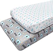 Stretchy Changing Pad Covers for Boys & Girls, 2 Pack Stretchy Jersey Knit Soft Cotton Diaper Changing Cha