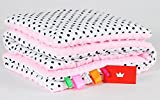 BABYLUX Babydecke MINKY PLÜSCH Kuscheldecke Decke 75 x 60 cm + KISSEN 2 Tlg Set (1. Rosa - Polka Dots)