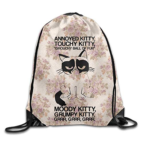 sexy world Grumpy-Kitty Drawstring Gym Sport Bag, Large Lightweight Gym Sackpack Backpack for Men and Women -
