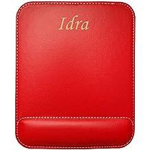 Almohadilla de cuero sintético de ratón personalizado con el texto: Idra (nombre de pila/apellido/apodo)