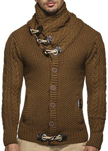 LEIF NELSON Herren Strickjacke Hoodie Jacke Pullover Kapuzenpullover Winterjacke Freizeitjacke; Größe Small, Camel