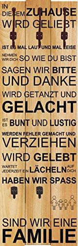 Artland Wand-Garderobe mit Motiv 3 Holz-Paneele mit gusseisernen Haken W. L. In diesem Zuhause - braun Statement Bilder Sprüche & Texte Graphische Kunst Braun 140 x 45 x 2,8 cm D1JY