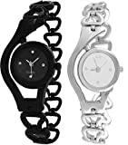 Fashion Now Black And Silver Women Watches combo of 2 Wrist watch - Women Analog Watch (Chain_Black_Silver)