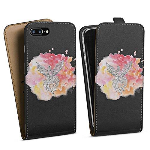 Apple iPhone 6 Plus Silikon Hülle Case Schutzhülle Pfau Mandala Aquarell Downflip Tasche schwarz
