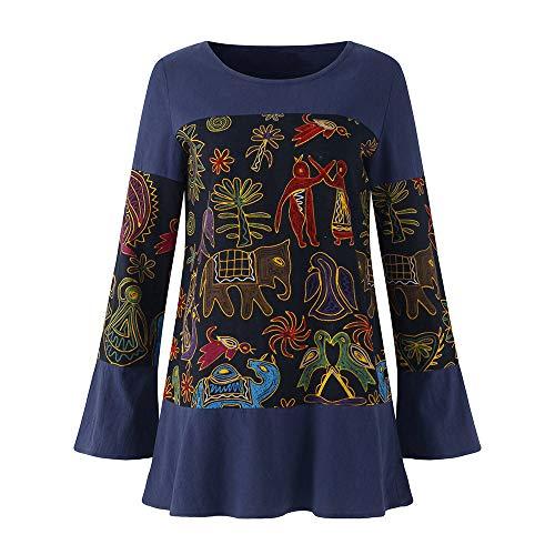 Mymyguoe Frauen Vintage Printed Pullover Stitching Patchwork Oansatz Leinen Langarm Tops Bluse Flare...