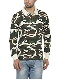 Clifton Mens Army Printed Full Sleeve Collar Polo T-Shirt-Off White