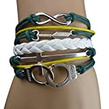 Mxixi Vintage Useful Cute Nice Colorful Infinity Friendship Bangle Leather Charm Chain Multilayer Rope Bracelet DIY (Style 13)