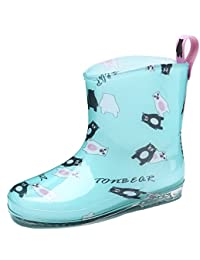 Brooklyn Walk Kids Rain Boots Cute Fashion Boots for Girls Bear Print Teal Color