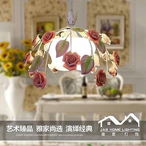 Ancernow E27 caldo creativo moda lampade a sospensione Giardino di Rose lanterna ferro ,36*H28CM (filo pendente 50CM ,regolabile) Lampadari per soggiorno, camera da letto, bar, caffetteria, ristorante, corridoio, camera