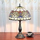 12 pulgadas de la vendimia pastoral Antiguos de lujo vidrieras Tiffany estilo lámpara de mesa lámpara de dormitorio lámpara de cabecera