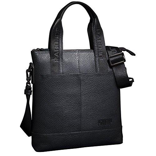 Oneworld Herren Rindleder Messenger Bag Aktentasche Schultertasche Notebooktasche Handtasche Umhängetasche Schultasche Tote Bag 28x30x6cm(BxHxT) Grau Schwarz